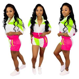 Mulheres 2 peça Conjuntos agasalho casuais macacões leve corta-vento capuz Jacket Top Curto Pants Set Esporte
