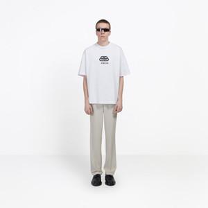 19ss Bloqueo de lujo Nuevo logotipo de impresión Diseñador para hombre Camisetas Moda Caliente Manga corta Mujer Pareja Negro Blanco Amarillo Cuello redondo Tee HFSSTX168