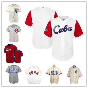 Equipo personalizado masculino Cuba Béisbol Jerseys Cream Grey White Red 2017 Béisbol Camisa clásica 1947 Road Jersey Cuba UAA 1952 Buenos uniformes