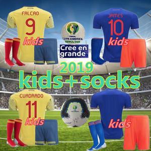 2019 2020 Columbia VALDERRAMA JAMES Falcao crianças Soccer Jersey kit completo 19 20 Columbia Clube kit crianças camisa de futebol + meias + remendo
