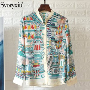 Svoryxiu High-End Silk Blouse Shirt Women's Long Sleeve Colorful Dessert Print Spring Summer Casual Loose Blouses Top Y200622