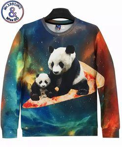 mens designer Digital printed long sleeve pizza panda family cute funny starry pullover sweater