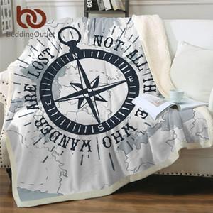BeddingOutlet Boussole Jeter Couverture nautique Carte Cool couvre-lit Marine Bleu Blanc En Peluche Sherpa Couverture Polaire Pour Lit Canapé 150x200 Y200417