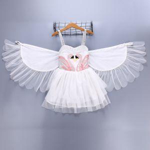 Vêtements enfant fille Swan robe d'été Susperder robe blanche avec Angel Wing Dance Show robe élégante