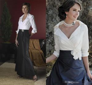 Gelin Modelleri Uzun Kollu Kat Uzunluk Tafta Bahar Mermaid A Hattı Resmi elbise Abiye Giyim Of Yeni Siyah Ve Beyaz Şık Anne