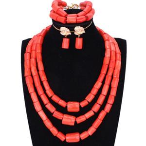 Chunky Original Coral Beads Bijoux Set pour les mariages nigérians Orange ou Rouge Femmes Africaines Collier Mariée Indien Bijoux De Mariée