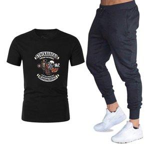 Бренд устанавливает рок хипстер мотоцикл печатные футболки + брюки 2 шт. костюм хлопок спортивный костюм хип-хоп уличная одежда очень красивые мужчины установить размер M-2XL