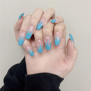 2020 New European Square Flame Fake Nails Design Blue Purple Fire Pattern Full Cover False Nails Artificial Nail Decal Art Tips