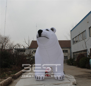 4m alta Gigante Bianco aerostato gonfiabile Polar Bear pubblicità esterna gonfiabile animale per la Città Sfilata Evento Fase Decoartion