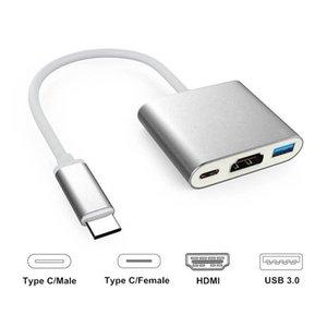 3 في 1 USB-C محور USB 3.1 HDMI TV فيديو من النوع C محول لوحي 10PCS / أعلى