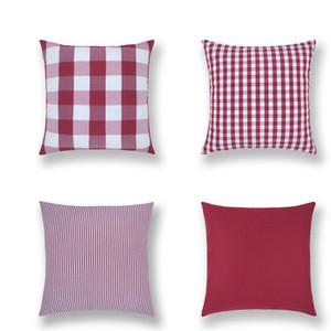 45*45cm pillow case Linen plaid sofa pillow cushion check Pillow cover Home Textiles Sofa Pillowcase Home Decor LJJA3661-452