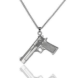 Vintage Punk Gothic Hip Hop Gun Pendant Necklace For Men Long Chain Necklace Uzi Gun Pendants & Necklaces Party Accessories