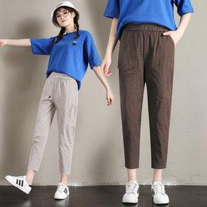 JIBAIYI 6 Renkler Yüksek Bel Pamuk Keten Kalem Pantolon Kadın Yaz Ince Ofis Lady Casual Büyük Ayak Bileği Uzunluk Pantolon