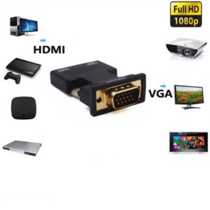 HDMI Female to VGA Male Converter + Audio Cable1080P Stereo VGA Male to HDMI Female Adapter Converter with Audio Cable 20A21