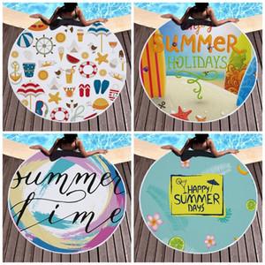 Mode Tassel pique-nique serviette Forme Ronde Lettre Boissons Impression Happy Summer Days Fringe Serviettes de plage Table confortable Tissu 150cm 26ql E19