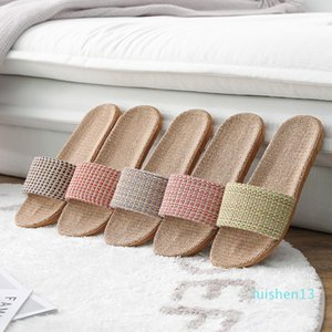 Suihyung Women Flax Slippers 2020 New Summer Lovers Beach Shoes Weave Plaid Casual Slides Flat Sandals Ladies Flip Flops l13