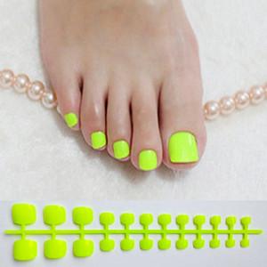 Ярко-зеленые акриловые накладные ногти квадратный пресс для ногтей для девочек