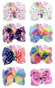 8 polegadas JOJO Arcos American Flag Grampos de cabelo Arcos 4 de clipes julho Atacado cabelo para os bebés Headwear Moda