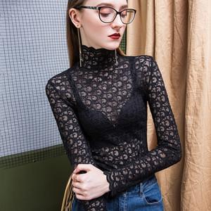 Damen-Blusen Shirt Sexy Spitze Turtleneck Mesh-T-Shirt Fashion Damen Sexy Brief weiche Langarm Slim Fit Top OL Bluse