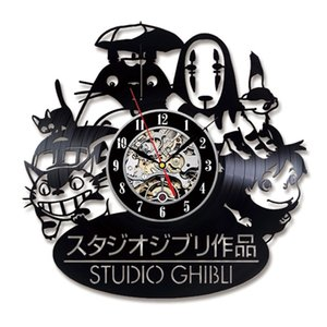 Vinyl Record LED Wall Clock with 7 Different Colors Change My Neighbor Totoro Studio Ghibli Clocks Wall Watch Home Decor