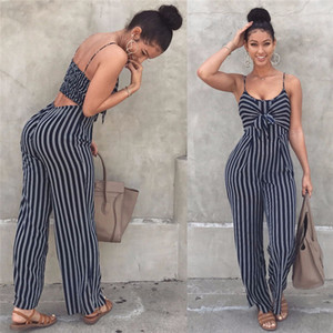 Elegant Striped Sexy Spaghetti Strap Rompers Womens Sets Sleeveless Backless Bow Casual Wide legs Jumpsuits Leotard Overal Y200701