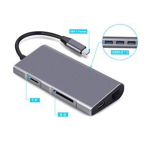 8-في-C 1Type محور USB C إلى منافذ RJ45 HDMI USB3.0 مع محور TF SD قارئ PD USB-C للماك بوك برو الجديدة سامسونج