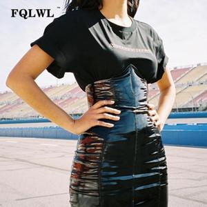 Fqlwl Faxu Latex Pu Falda de cuero para mujer Cremallera Negro / de talle alto / lápiz Faldas Mujeres Otoño Wrap Sexy Mini Falda Mujer MX190714