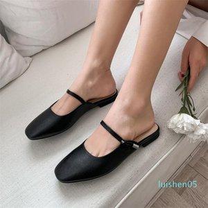 Zapatos Meotina primavera Pisos mujeres mulas Natural cuero auténtico plana zapatos casuales de cuero real del dedo del pie cuadrado de Mujer Tamaño 34-39 L05