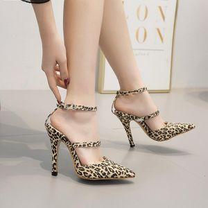 Pretty2019 Yaz Seksi Güzel Sandalet Leopard Baskı Yüksek ile Kadın ayakkabı 40 Kod