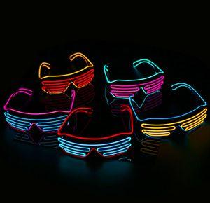 Вечеринка EL Очки EL Провод Неон LED Солнцезащитные Очки Загораются Очки Rave Костюм Вечеринка DJ Солнцезащитные Очки День Рождения Декор