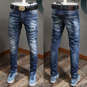 Men Red Logo Patch Destroyed Jeans Slim Biker Fit Colorful Painted Stitching Detail Denim Pants Cool Guy