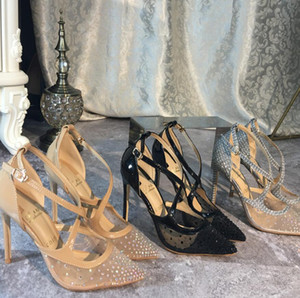 Sıcak Satış-Casual Tasarımcı Seksi bayan moda Stiletto pompalar topuklu pompalar çıplak strass Criss Cross'un strappy noktası ayak yüksek topuklu örgü