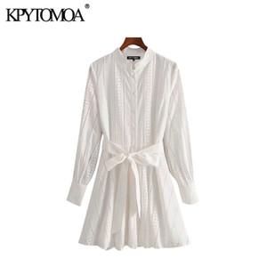KPYTOMOA 여성 2020 세련된 패션 중공 아웃 자수 벨트 미니 드레스 빈티지 높은 칼라 긴 소매 여성 드레스 Mujer T200613
