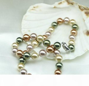 Luxury new 12mm Mixed color natural pearl necklace South Sea Shell Pearl 17 inch 925 silver clasp BL11
