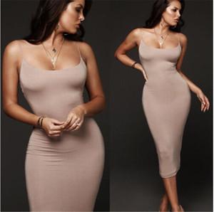 Женщины Тонкий Midi Dress Clubwear Карандаш Платье спагетти ремни спинки сексуальное длинное платье с высокой талией bodycon элегантные платья партии