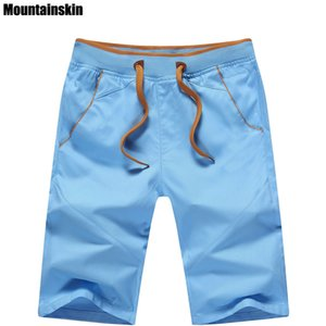 Short en coton pour hommes Mountainskin 5xl New Summer Mid Straight Thin Beach Shorts Casual Shorts de marque masculine solide doux, sa168 MX190718
