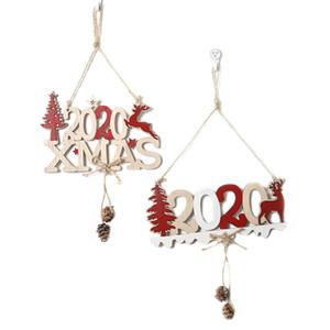 Noël Hanging Pendentif en bois 2020 Fenêtre Arbre de Noël Hanging lettres Produit Moose avec corde de Noël Décoration