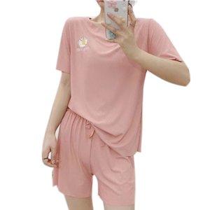 femminile casuale di estate Sport Set morbida e rilassata ghiaccio seta pantaloncini sportivi corsa insieme a due pezzi solido fitness fresco Suit