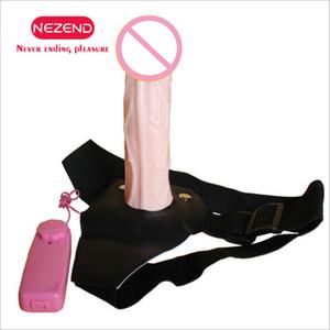 NEZEND Wearable vibratório Penis Adult Sex Toys Silicone Lesbian Strap On Harness Vibrador Dildo para casais oco Design Os homens Y191217