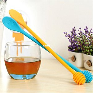 Cute Smile Face Silicone Honey Spoon Honey Stick Tea Long Handle Mixing Stick Coffee Sticker Spoon