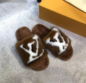 Hot limited edition full mink hair home and hotel slippers Latest Light and comfortable soles Womens Soft warm Fur Leather slippers Xshfbcl