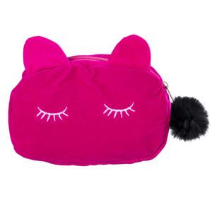 Estuche de lápices negro Estuche de lápices Papelería escolar Maquillaje cosmético Velour Pouch Zipper Bag Cartoon Cat Multifunction Purse Travel Case