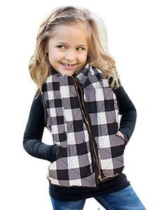 Überprüfen Ärmel Jacke Kids Plaid-Weste mit Taschen Mädchen Warm Reißverschluss Outwear Weste Tank Herbst-Winter-Mantel LJJA3671