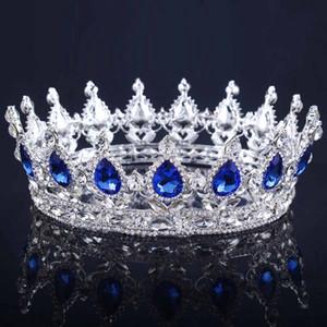 Vintage Altın Başlıklar Düğün Taç Alaşım Gelin Tiara Barok Kraliçe Kral Taç altın renk rhinestone tiara ve taç Ucuz