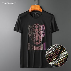 cotton | 2020 mercerizzato Estate | In stile europeo luce lusso Olimpico colore del leopardo corte uomo modello maschile Tuoshang maniche T-shirt