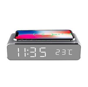 2019 heiße Verkaufs-Reise Elektro LED-Wecker mit Telefon Wireless-Ladegerät Desktop-Digital-Thermometer-Taktgeber-HD Spiegel Uhr mit Zeit Speichern