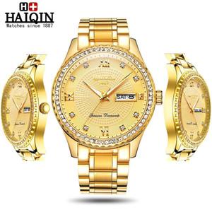 Haiqin mode garniture de diamant Quartz Montres Hommes Top hommes de luxe marque de montres dames montre-bracelet unisexe Lady Relogio Feminino 2020