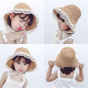 Summer children's straw hat sunscreen sun lace lace men and women baby fisherman hat Child parent hat Wholesale HN317
