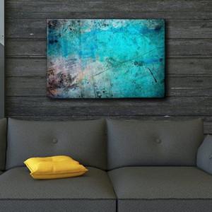 Pintado a mano HD Print Modern Abstract Blue and Splatter Ink Art Oil Painting Wall Art Decoración para el hogar en lienzo de alta calidad l61