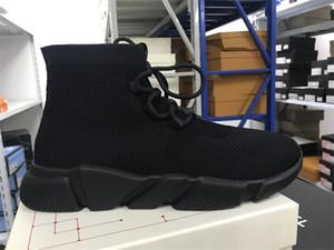 Neue Speed-Socken-Turnschuhe der neuen Männer Stretch-Strick Mid Sneakers Frauen Leichte Laufschuhe Farbe Schwarz Rot mit Kasten Big Size US 5-11,5